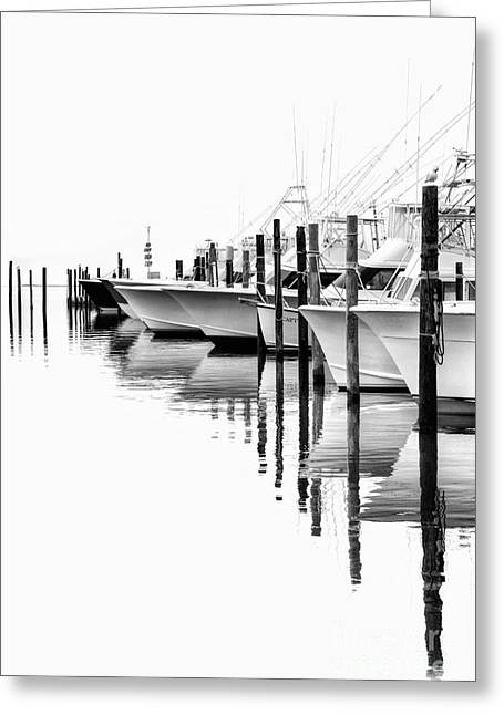 Oregon Artist Greeting Cards - White Boats II - Outer Banks BW Greeting Card by Dan Carmichael