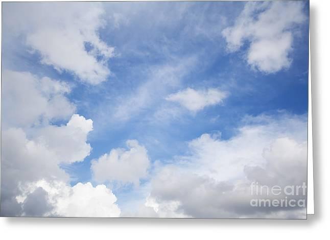 Thin Greeting Cards - White bold clouds over a blue sunny sky Greeting Card by Jose Elias - Sofia Pereira