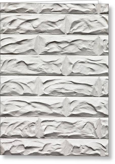 White Clay Greeting Cards - White brick wall Greeting Card by Tom Gowanlock