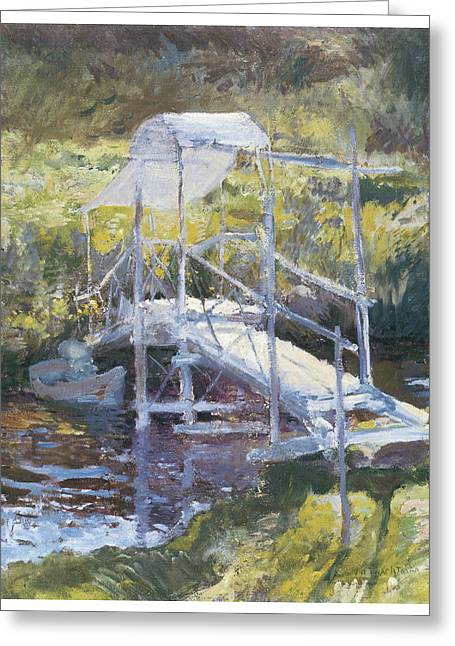 White Bridge Greeting Card by John Twachtman
