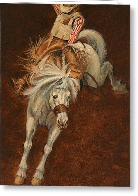 Bucking Horses Greeting Cards - Bucking White Horse Greeting Card by Don  Langeneckert