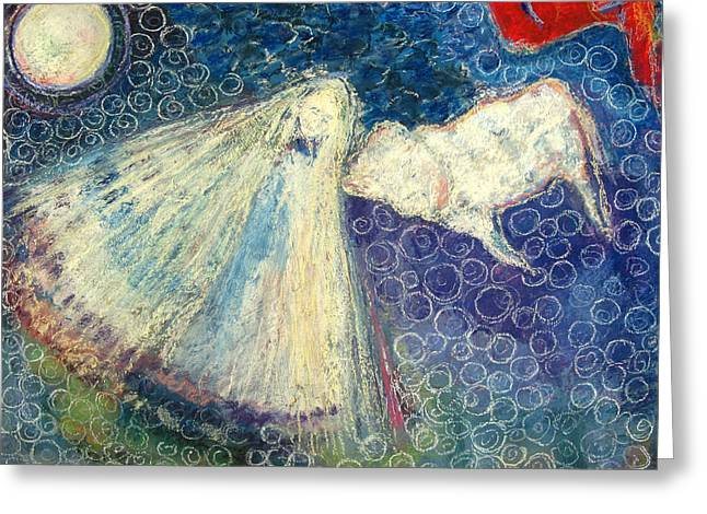 Faith Pastels Greeting Cards - White Buffalo Calf Woman Greeting Card by  Tolere