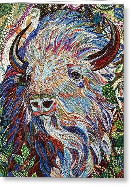 The American Buffalo Paintings Greeting Cards - White Buffalo Greeting Card by Erika P Johnson