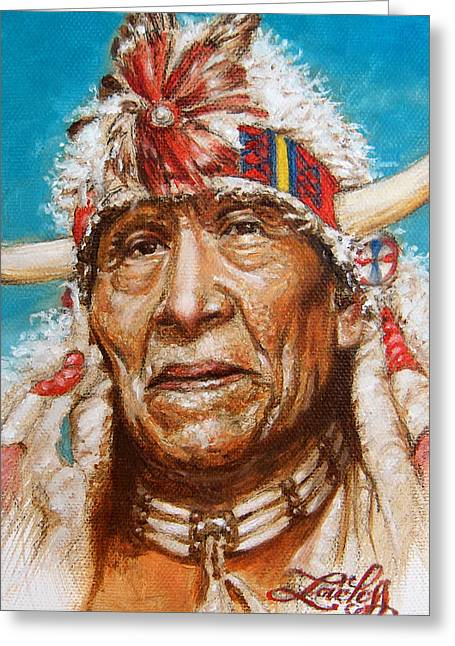 Sioux Greeting Cards - White Buffalo Greeting Card by James Loveless
