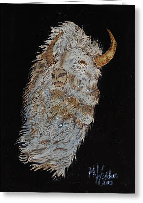 Buffalo Pyrography Greeting Cards - White Buffalo Greeting Card by Mike Holder