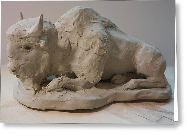 Clay Sculptures Greeting Cards - White Buffalo sculpture 2 Greeting Card by Derrick Higgins