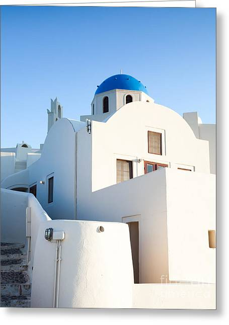 Cupola Greeting Cards - White buildings and blue church in Oia Santorini Greece Greeting Card by Matteo Colombo