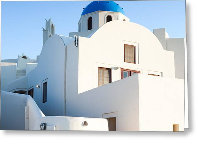 White buildings and blue church in Oia Santorini Greece Greeting Card by Matteo Colombo