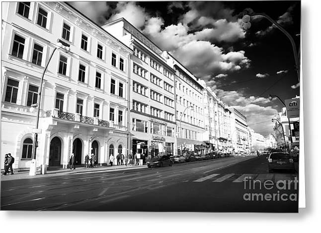 White Buildings in Prague Greeting Card by John Rizzuto