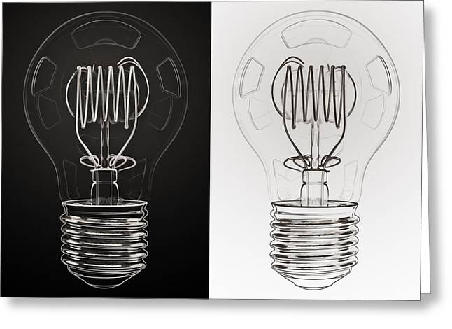 Bulb Greeting Cards - White Bulb Black Bulb Greeting Card by Scott Norris