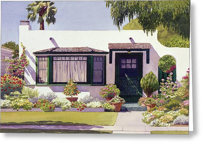 Coronado Greeting Cards - White Bungalow in Coronado Greeting Card by Mary Helmreich