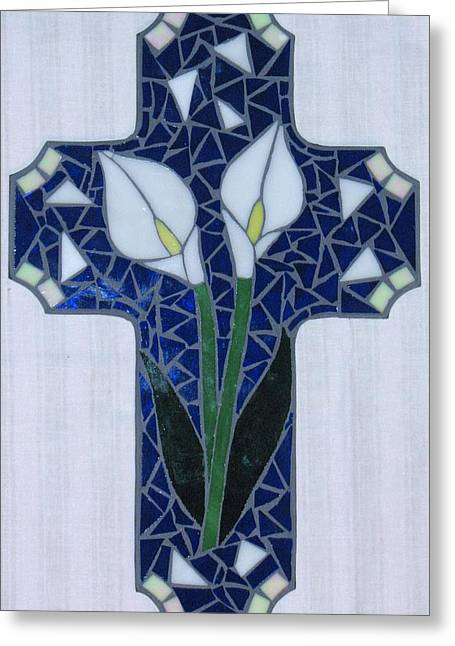 White Glass Greeting Cards - White Cala Lilies Greeting Card by Rosa Cardenas