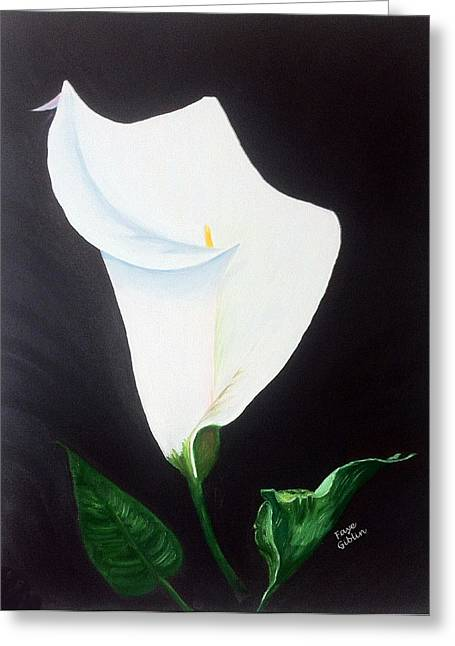 Calla Lily Drawings Greeting Cards - White Calla Lily Greeting Card by Faye Giblin
