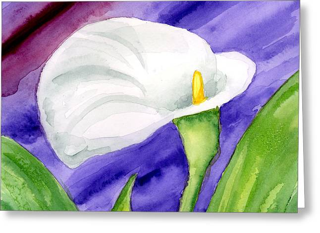 Anniesdoodlebugz Greeting Cards - White Calla Lily Purple Mood Greeting Card by Annie Troe