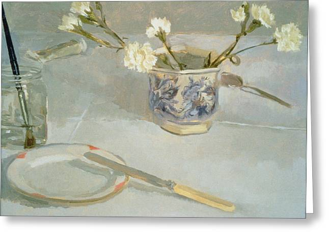 Water Jars Greeting Cards - White Carnations In January Oil On Canvas Greeting Card by Sarah Butterfield