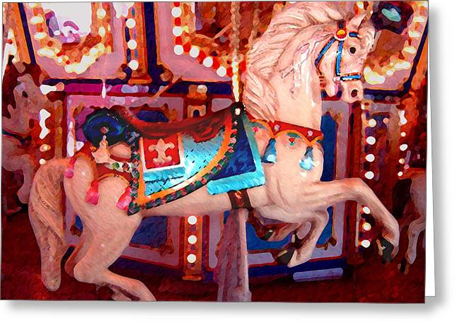 White Carousel Horse Greeting Card by Amy Vangsgard