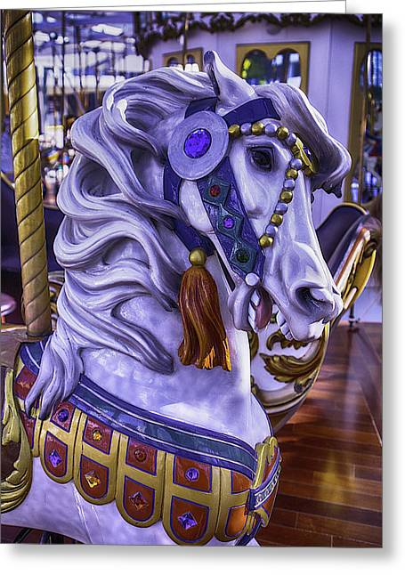 Magical Photographs Greeting Cards - White Carrousel Horse Greeting Card by Garry Gay