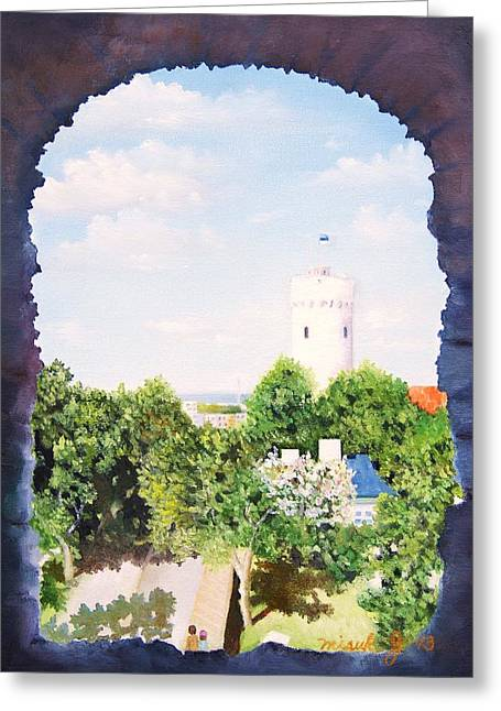 Tin Roof Paintings Greeting Cards - White castle in Tallinn Estonia Greeting Card by Misuk  Jenkins