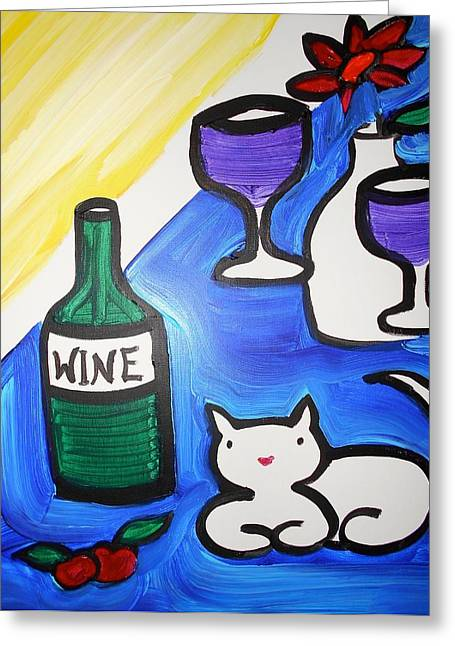 Table Wine Greeting Cards - White Cat And Wine Greeting Card by Margaret Hennessy
