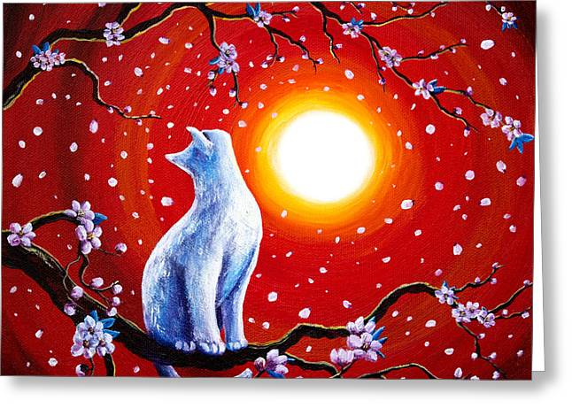 Surreal Fantasy Trees Landscape Greeting Cards - White Cat in Bright Sunset Greeting Card by Laura Iverson