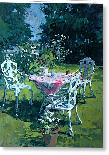 Impressive Greeting Cards - White Chairs at Belchester Greeting Card by Susan Ryder
