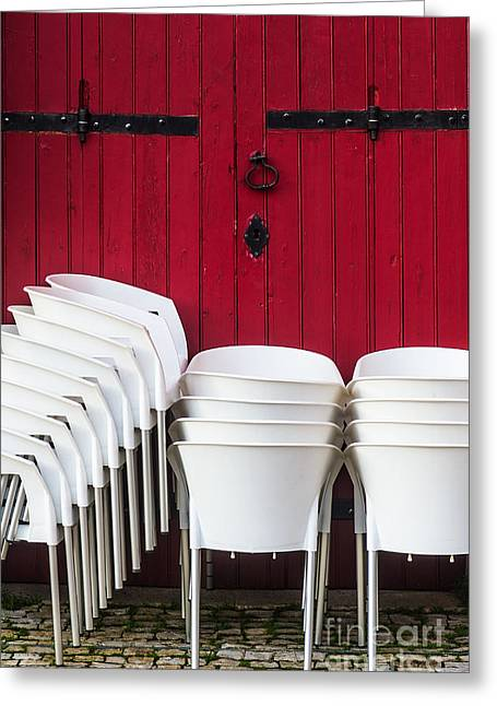 Empty Chairs Greeting Cards - White Chairs Greeting Card by Carlos Caetano