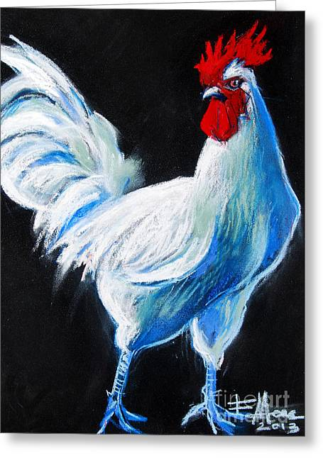 White Tail Pastels Greeting Cards - White Chicken Greeting Card by Mona Edulesco
