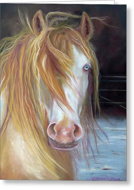 Chatham Pastels Greeting Cards - White Chocolate Stallion Greeting Card by Karen Kennedy Chatham