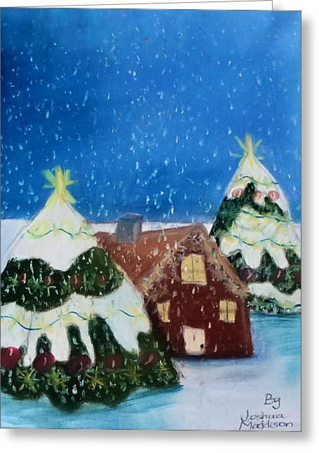 Christmas Pastels Greeting Cards - White Christmas Greeting Card by Joshua Maddison