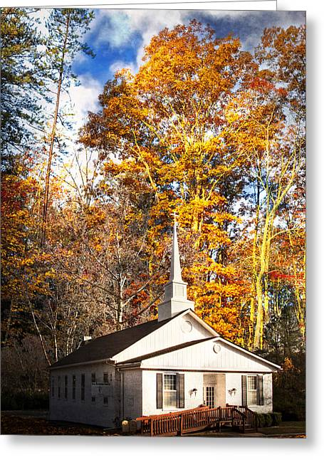 Patriotic Scenes Greeting Cards - White Church in Autumn Greeting Card by Debra and Dave Vanderlaan