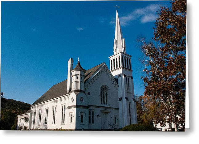 Geobob Greeting Cards - White Church Kent Connecticut Greeting Card by Robert Ford