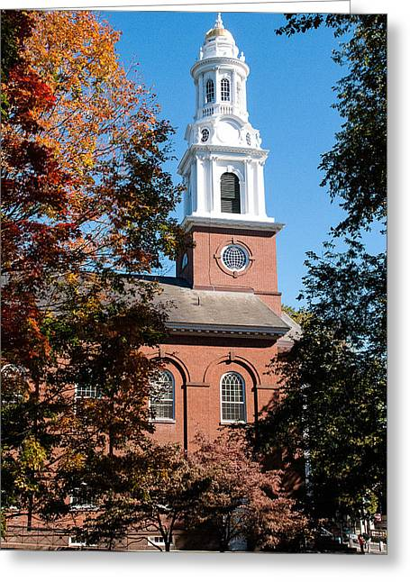 White Church Steeple New Haven Green Connecticut Greeting Card by Robert Ford