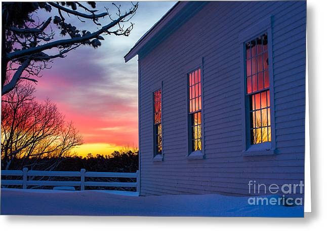 Best Sellers -  - New England Snow Scene Greeting Cards - White Church Windows Greeting Card by Benjamin Williamson