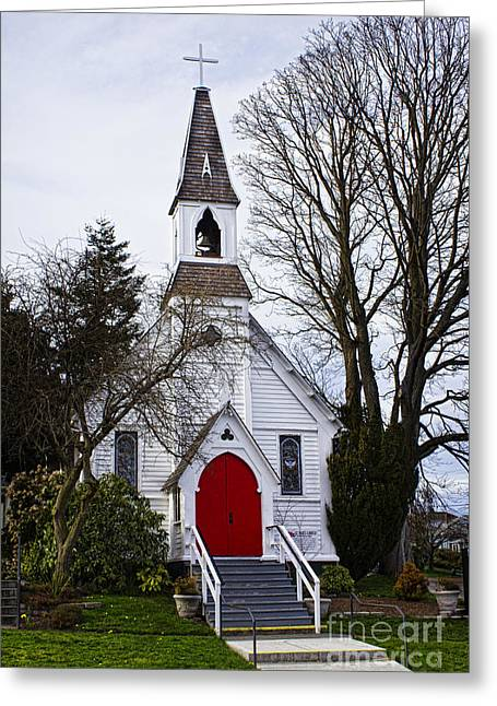 White Church Greeting Cards - White Church With Red Door Greeting Card by Elena Nosyreva