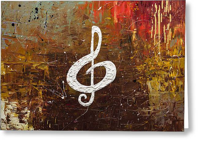 White Clef Greeting Card by Carmen Guedez