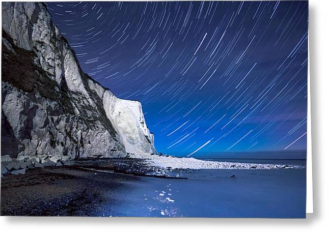 Port Kent Greeting Cards - White Cliffs of Dover on a Starry Night Greeting Card by Ian Hufton