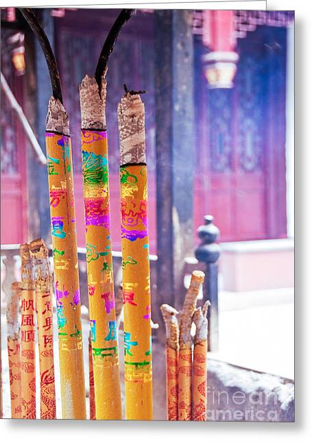 Incense Sticks Greeting Cards - White Cloud temple Greeting Card by Delphimages Photo Creations