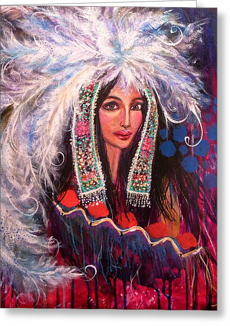 White Cloud's Head Dress Greeting Card by Kimberly Van Rossum