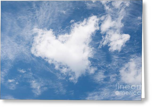 White Clouds Heart Shape Authentic Greeting Card by Arletta Cwalina