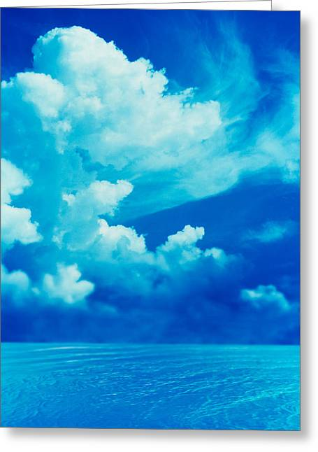 Cumulus Clouds Greeting Cards - White Clouds In Dark Blue Sky Greeting Card by Panoramic Images