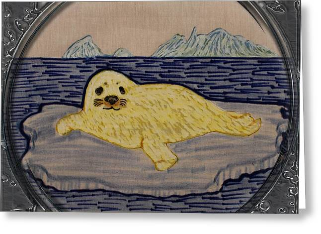 Ocean Images Drawings Greeting Cards - White Coat Seal Pup on Ice Flow - Porthole Vignette Greeting Card by Barbara Griffin