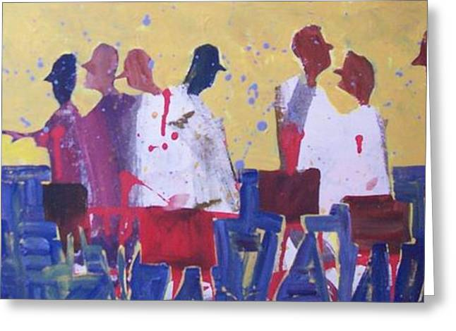 Medication Paintings Greeting Cards - White Coats Walking Greeting Card by Larry Lerew