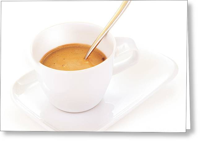 Americano Greeting Cards - White coffee cup Greeting Card by Anna Omelchenko