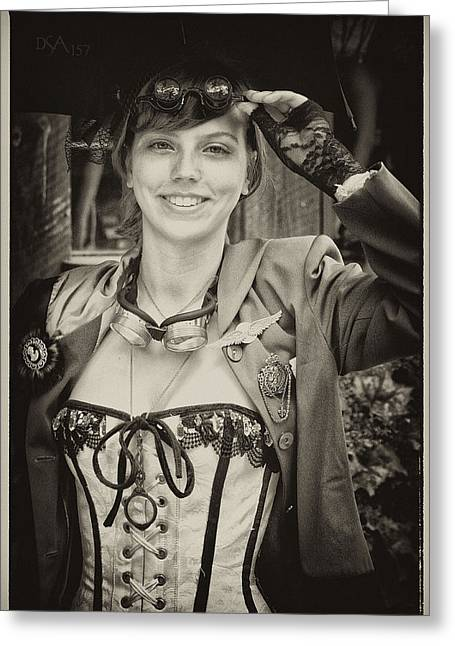 Steampunk Photographs Greeting Cards - White Corset Greeting Card by David April