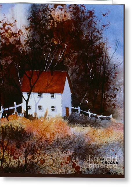 Sienna Greeting Cards - White Cottage Greeting Card by Teresa Ascone