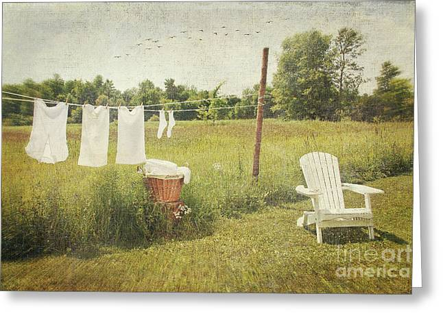 Tie Pin Greeting Cards - White cotton clothes drying on a wash line  Greeting Card by Sandra Cunningham