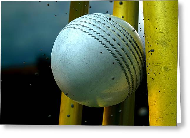 Cricket Greeting Cards - White Cricket Ball And Wickets Greeting Card by Allan Swart