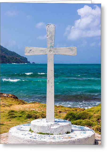 Miel Greeting Cards - White Cross and Sea Greeting Card by Jess Kraft