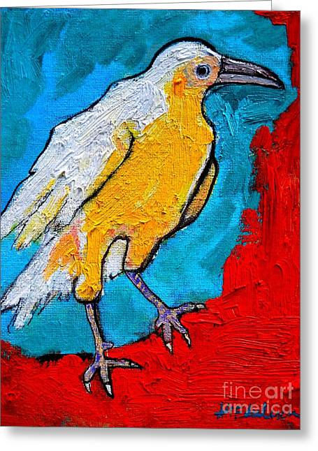 Flying Animal Greeting Cards - White Crow Greeting Card by Ana Maria Edulescu