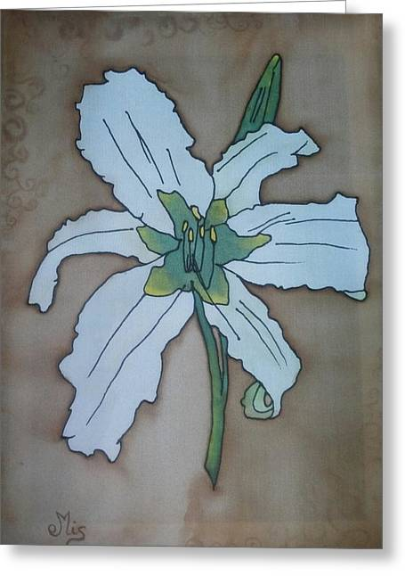 Blooms Tapestries - Textiles Greeting Cards - White daylily Greeting Card by Edvinas Misiukevicius
